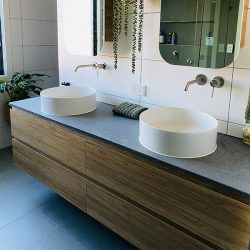 Timberline Custom Oxbow 1800mm wall hung vanity with double bowl