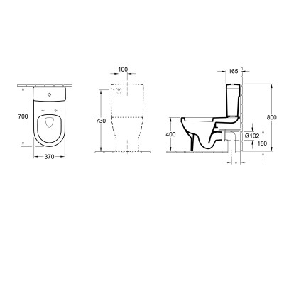 Architectura D Back to Wall Toilet dimensions