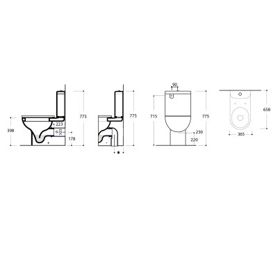 Azure Back to Wall Toilet dimensions