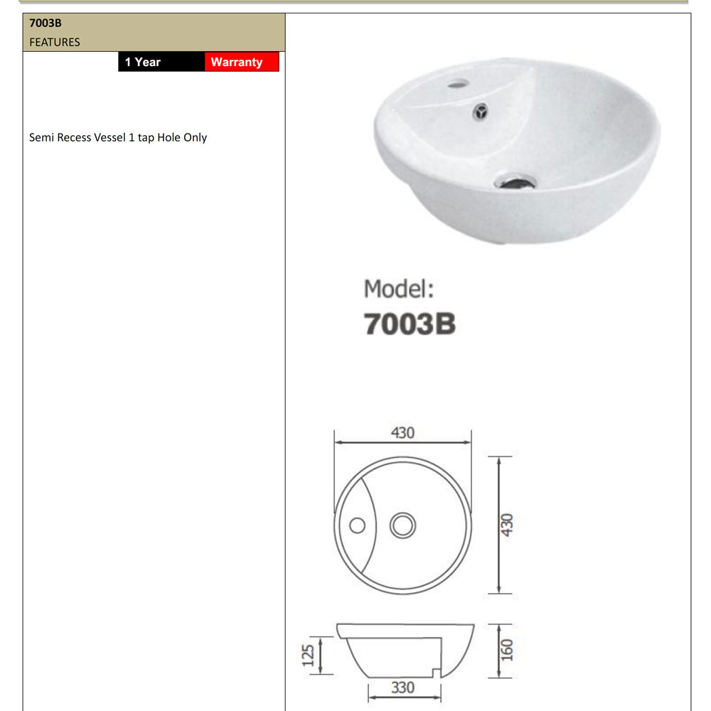 Arto 7003b Semi Recessed Round Basin Bathroom Supplies