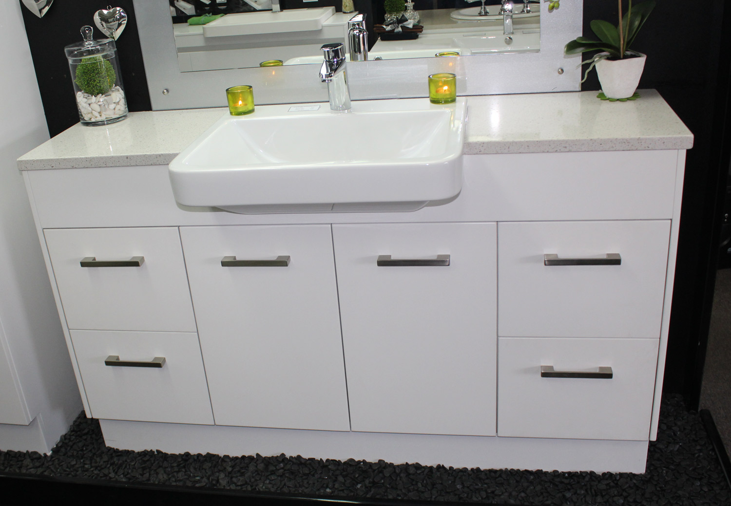 Custom Vanity Unit 1500mm Stone Top Semi Recessed Basin ...