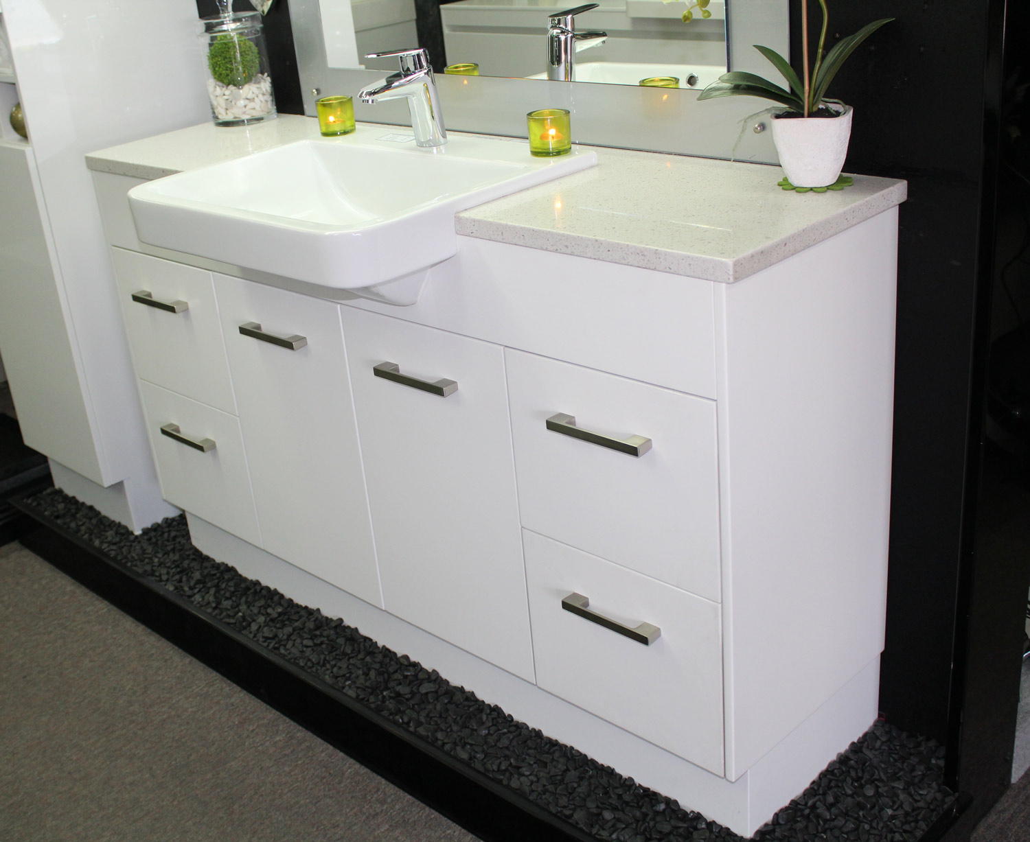 Custom Vanity Unit 1500mm Stone Top Semi Recessed Basin Right Side