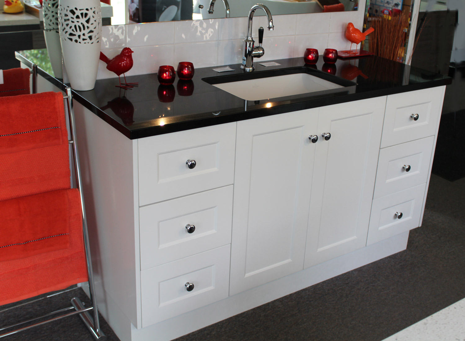 Custom 1500mm vanity unit with black granite top bathroom supplies in brisbane - Marble vanity units ...