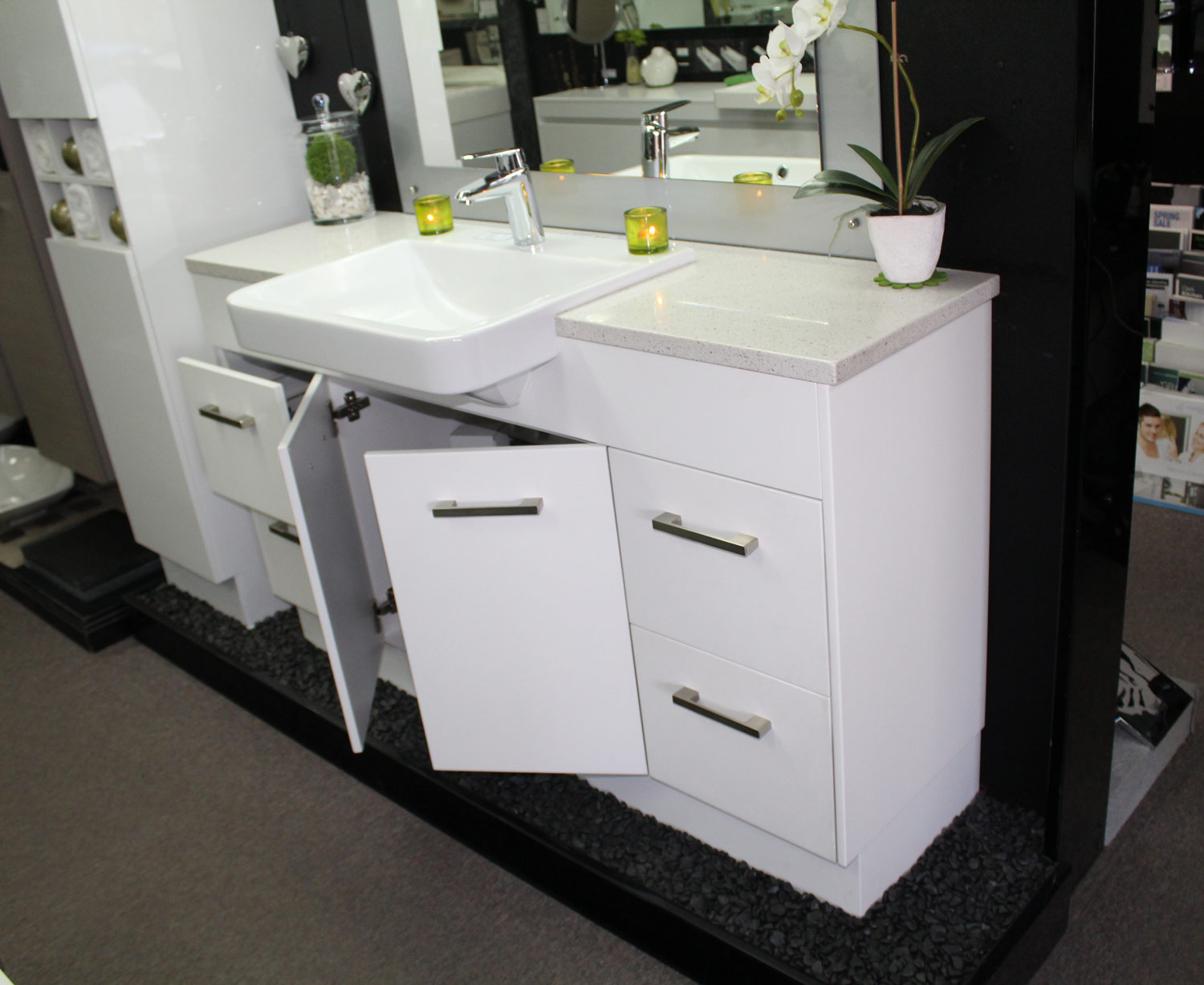 Custom vanity unit 1500mm stone top semi recessed basin bathroom supplies in brisbane - Marble vanity units ...
