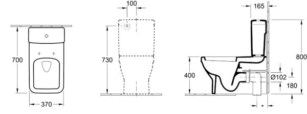 Argent Architectura SQ Back to Wall Toilet Suit Dimensions