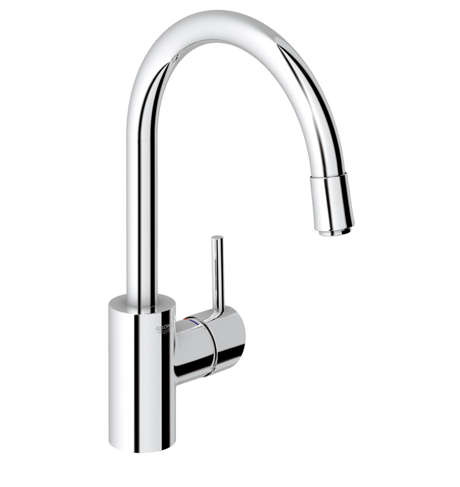 grohe concetto gooseneck kitchen mixer with pull out spray. Black Bedroom Furniture Sets. Home Design Ideas