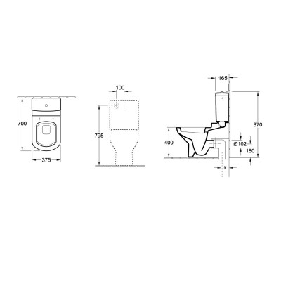 Villeroy & Boch Sentique Back to Wall Toilet dimensions