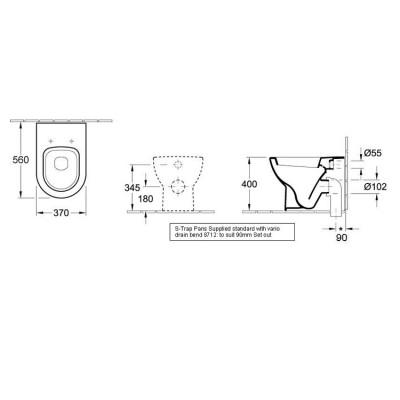 Subway Wall Faced Pan Toilet dimensions