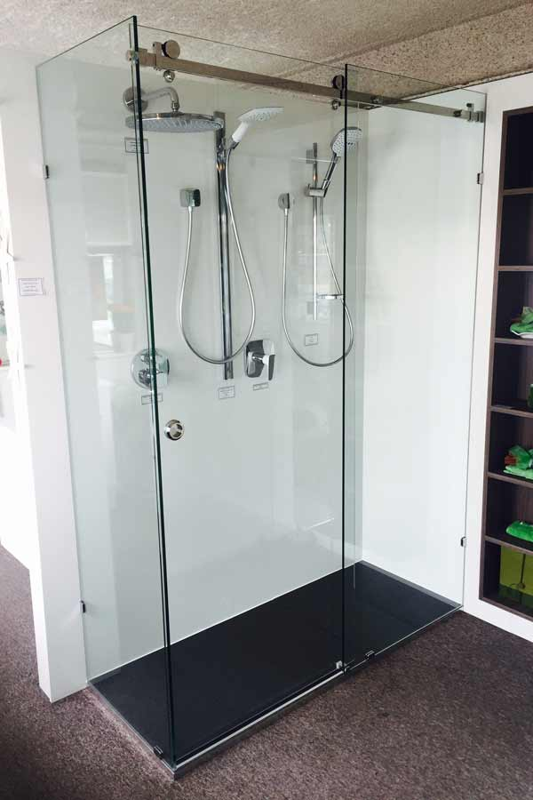 frameless shower on opto rail system