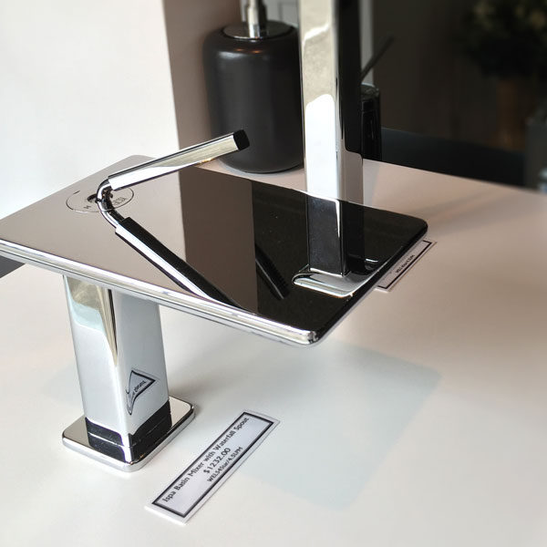 Ispa Basin Mixer with Waterfall Spout on display