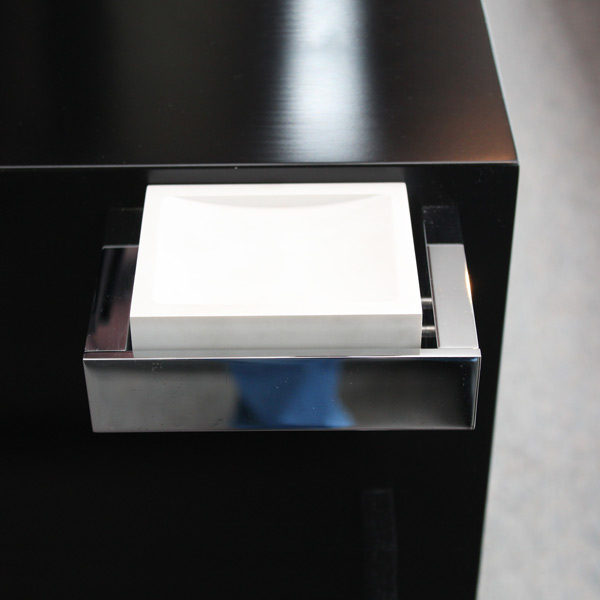 Rettangolo Soap Dish with White Corian on Display