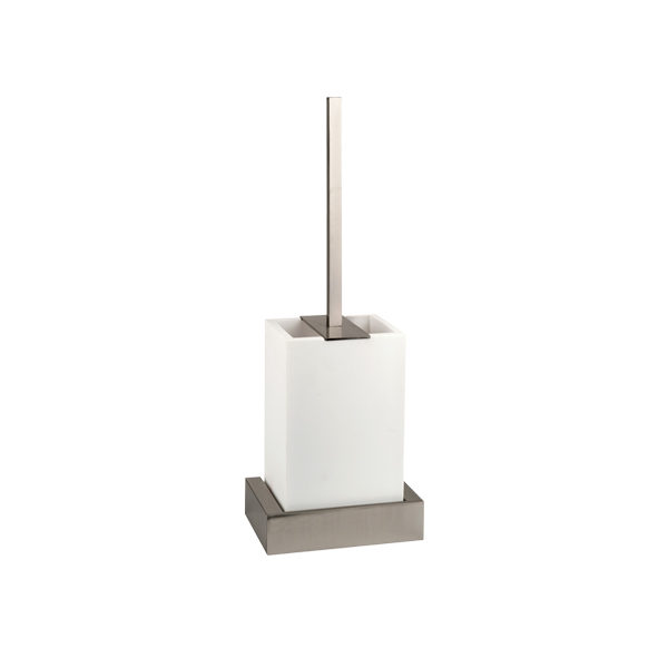 Rettangolo Wall Mounted Toilet Brush with White Corian - Chrome