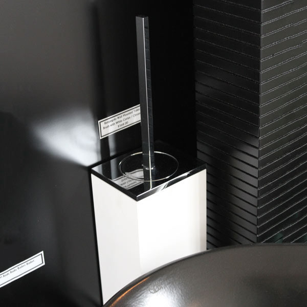 Rettangolo Wall Mounted Toilet Brush with White Corian - Chrome on Display