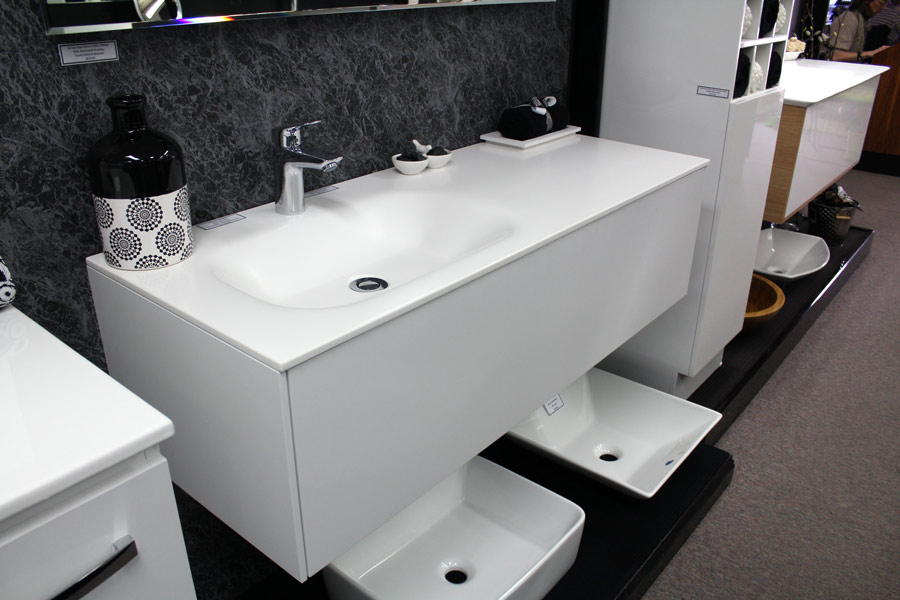 1200mm wall hung vanity with satin white cabines. 1200 Timberline Andersen Vanity Unit with Corian Top   Bathroom