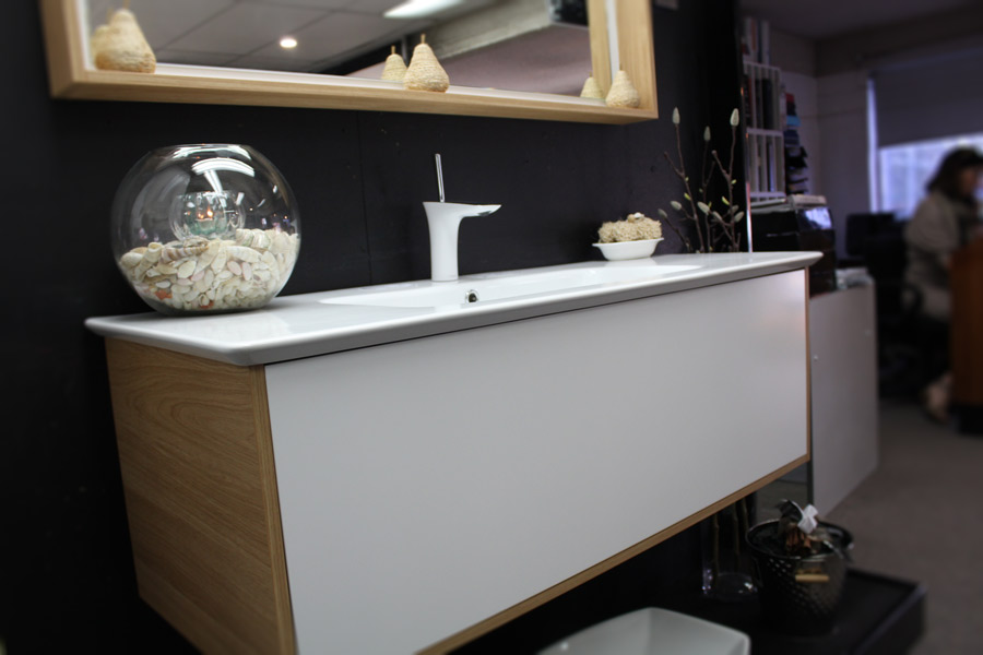 santos wall hung vanity unit with oak textured. Timberline Santos 1200 Vanity With Oak Textured Laminate