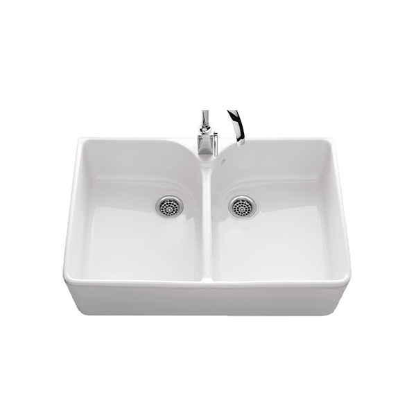 abey clotaire double bowl ceramic sink - Abey Kitchen Sinks
