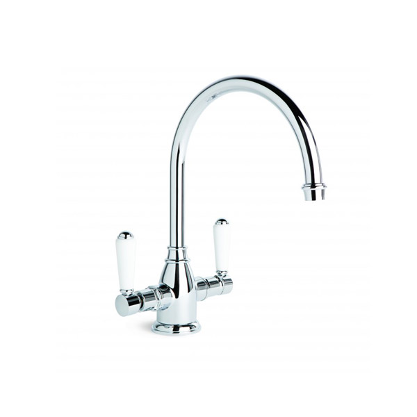 Brodware Winslow Kitchen Sink Mixer with Swivel Spout & White Porcelain Handle
