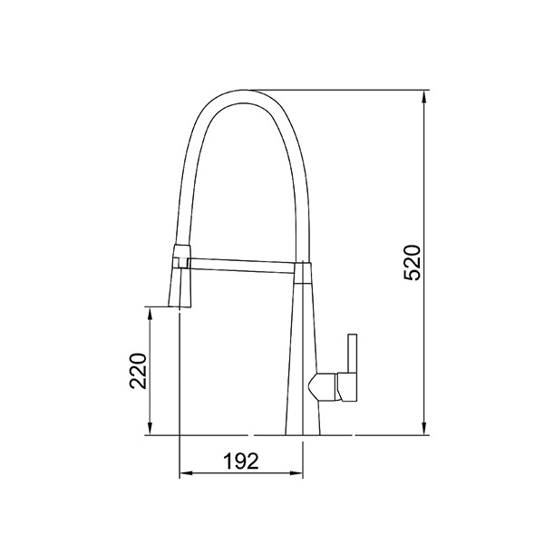 Dimensions for Arcisan AR01260 Kitchen Sink mixer with nozzle on black hose
