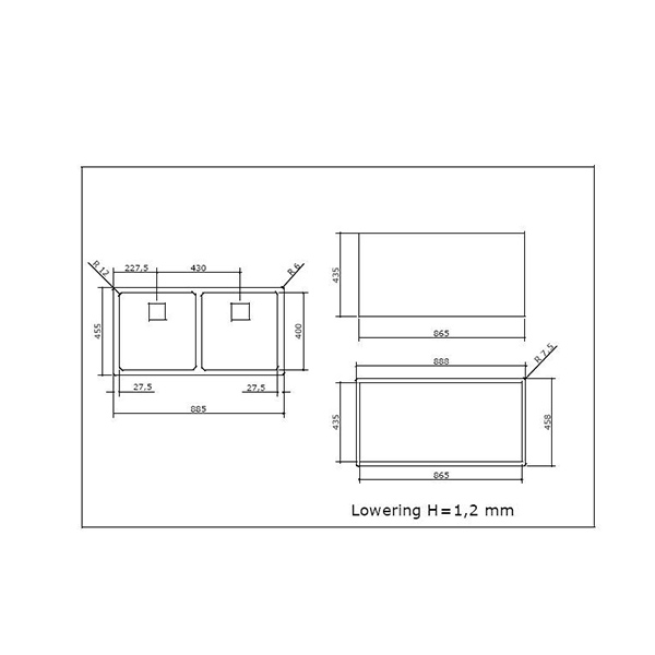 Specifications for Abey Cubo Double Bowl Sink