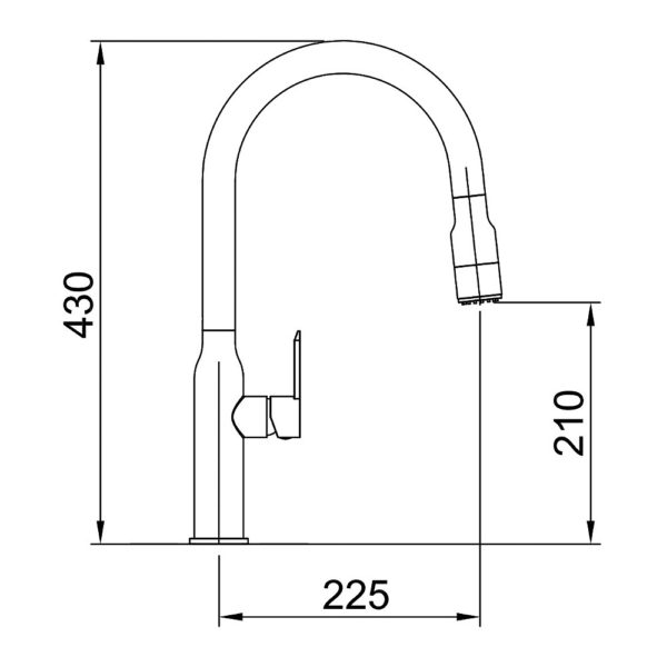 Specifications for Arcisan AR01253 Gooseneck Kitchen Mixer with 2 Jet spray