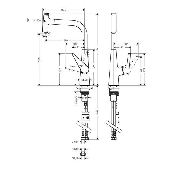 Specifications for Hansgrohe Talis Select single lever mixer with pullout spray