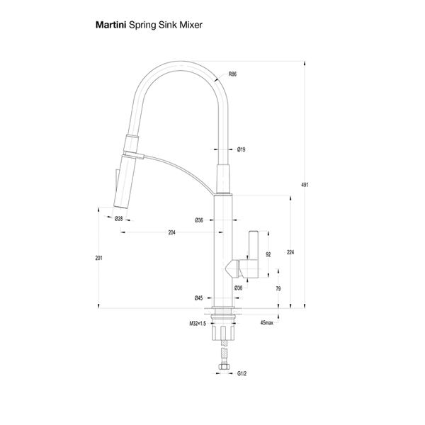 Specifications for JJ Martini Spring Sink Mixer