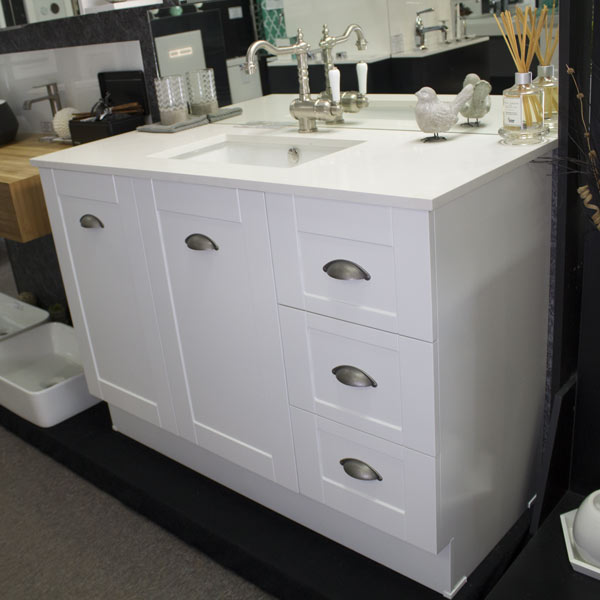 Bathroom Vanities Qld timberline victoria 1200mm with frosty carrina top – bathroom