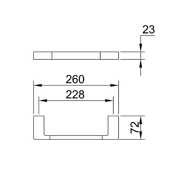 Dimensions for Eneo Matt Black Guest Towel rail 260mm