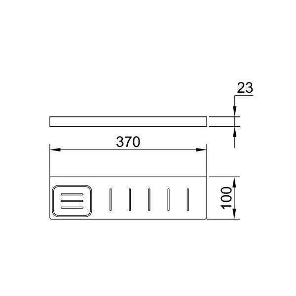Dimensions for Eneo Matt Black Shelf with drain slots & integrated soap dish