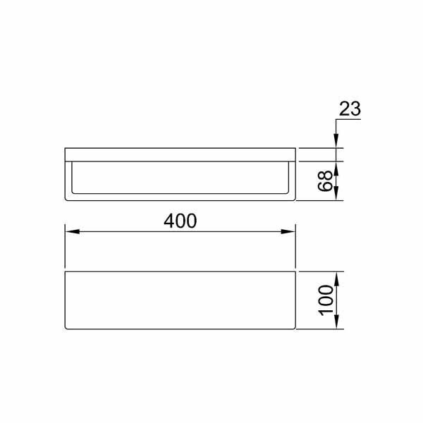 Dimensions for Eneo Matt Black Shelf with towel rail 400mm