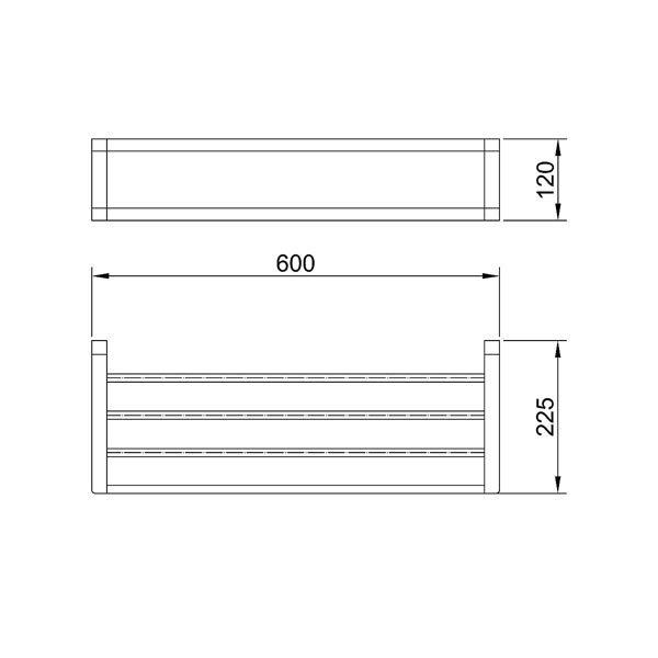 Dimensions for Eneo Matt Black Towel Rack with Rail